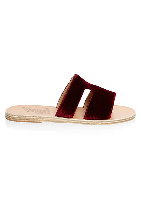 Image of Cut-out slides with luxe velvet texture. Velvet upper. Leather sole. Made in Greece.