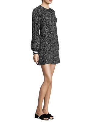 Martine Crewneck Printed A-Line Short Dress, Black Multi