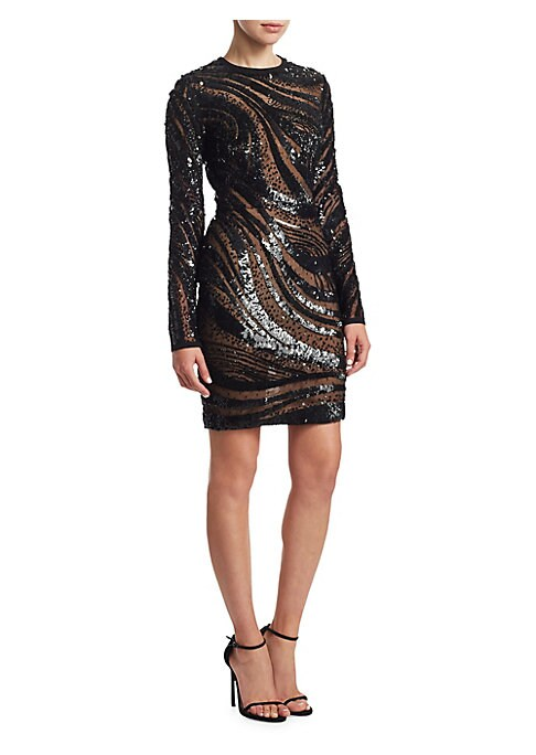 "Image of Radiant sequin embellished dress with beaded detailing. Roundneck. Long sleeves. Concealed back zip. About 35"" from shoulder to hem. Polyamide/silk/nylon. Dry clean. Imported. Model shown is 5'10"" (177cm) wearing US size 4."