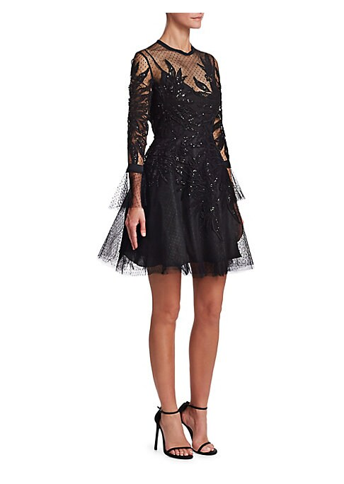 "Image of Dotted tulle fit-and-flare with sequined applique. Round illusion neck. Long sleeves. Tied cuffs. Concealed back zip closure. About 45"" from shoulder to hem. Polyamide/silk. Dry clean. Imported. Model shown is 5'10"" (177cm) wearing US size 4."