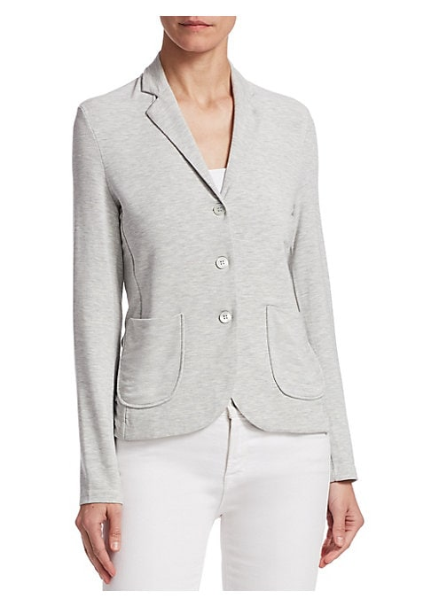 """Image of Accent your casual outfit with this comfy blazer. Notch lapels. Long sleeves. Button front. Front patch pockets. About 23"""" from shoulder to hem. Viscose/elastane. Dry clean. Made in France. Model shown is 5'10"""" (177cm) wearing US size 4."""