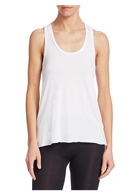 """Image of A timeless tank top in comfortable and cozy silhouette. Scoopneck. Sleeveless. Racerback. About 25"""" from shoulder to hem. Viscose/elastane. Machine wash. Imported. Model shown is 5'10"""" (177cm) wearing a size Small."""