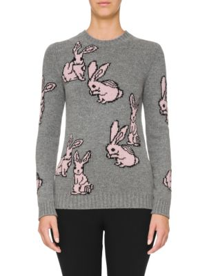 Cashmere Rabbit Print Pullover by Prada