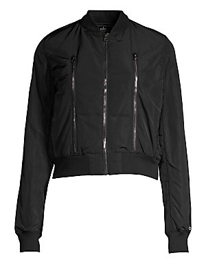 "Image of Cropped bomber jacket with zip detailing Baseball collar Long sleeves Zip front Front zip details Ribbed trim About 23"" from shoulder to hem Polyester Machine wash Imported Model shown is 5'10"" (177cm) wearing size Small. Contemporary Sp - Active. Alo Yog"