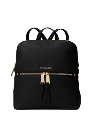 """Image of .Rich pebbled leather shapes a chic, shoulder-ready companion. .Top handle, 2"""" drop. .Adjustable shoulder straps, 12""""-14.5"""" drop. .Top zip closure. .One outside zip pocket. .One outside open pocket. .Two inside open pockets. .Fully lined. .Includes dust b"""
