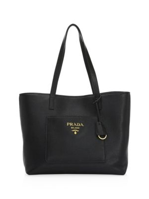 Large Daino Leather Shopper by Prada