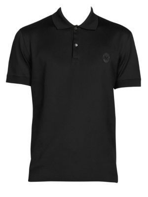 """Image of Cotton polo finished with skull embroidery. Spread collar. Short sleeves. Two-button placket. About 27"""" from shoulder to hem. Cotton. Machine wash. Made in Italy."""