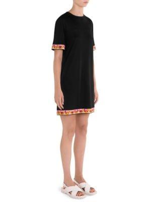 Border-Print Jersey Dress in Black