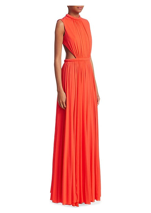 Image of Alexander McQueen's eveningwear is always thoughtfully designed to complement a woman's figure, and the open back and side cut-outs on this stunning evening dress do exactly that. A high round neck and empire waist offers a slimming silhouette with long,