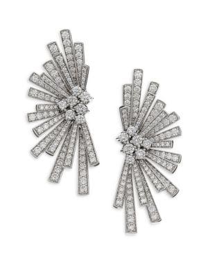 Labyrinth Diamond & 18K White Gold Stud Earrings