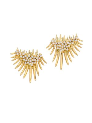 Hueb 18k Yellow Gold Diamond Fan Spike Earrings