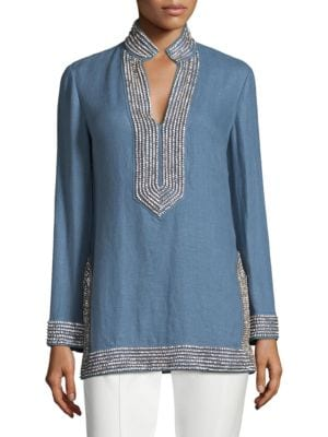 a92e2e72d6a Shoptagr | Embellished Linen Tunic by Tory Burch
