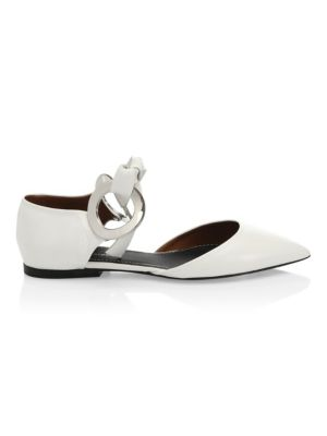 Front-Tie Leather Flats in 001 White
