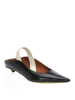 Point Toe Patent Leather Slingback Pumps, Black