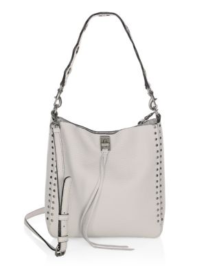 Small Darren Deerskin Leather Feed Bag - Grey, Putty
