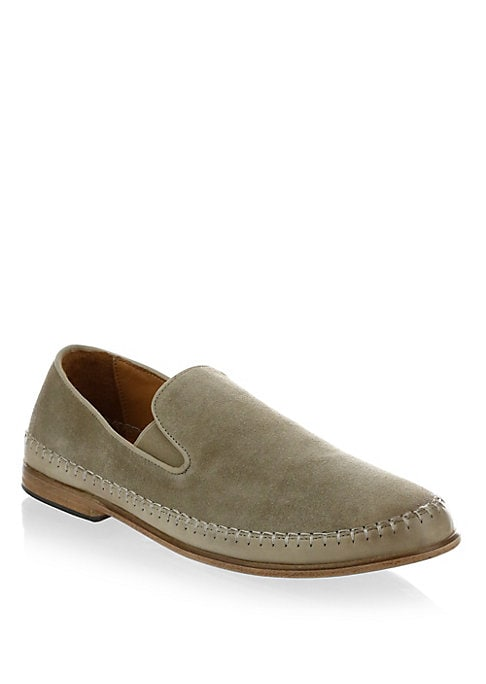 Image of Hand stitched textured leather slip-ons with side elastic gores. Leather upper. Slip-on style. Leather lining. Leather sole. Dust bag included. Made in Portugal.