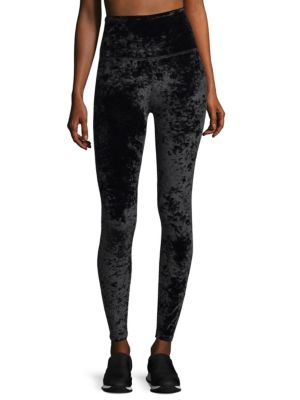 "Image of Crushed velvet leggings in high waisted silhouette. Elasticized waist. Pull-on style. Rise, about 10"".Inseam, about 28"".Polyester/spandex. Machine wash. Imported. Model shown is 5'10"" (177cm) and wearing US size Small."