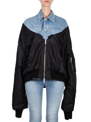 UNRAVEL Denim Mixed-Fabric Bomber Jacket in Black