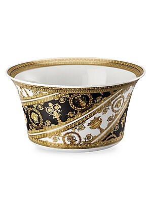 "Image of Featuring grand, Baroque inspired patterns, instantly recognizable as the distinguished style of the House of Versace. From the I Love Baroque Collection Diameter, about 7.75"" Porcelain Dishwasher safe Made in Germany. Gifts - Tabletop. Versace."