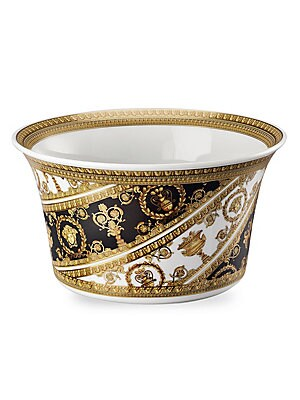 "Image of From the I Love Baroque Collection. Featuring grand, Baroque inspired patterns, instantly recognizable as the distinguished style of the House of Versace. Diameter, about 6.5"" Porcelain Dishwasher safe Made in Germany. Gifts - Tabletop. Versace."