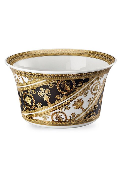 """Image of From the I Love Baroque Collection. Featuring grand, Baroque inspired patterns, instantly recognizable as the distinguished style of the House of Versace. Diameter, about 6.5"""".Porcelain. Dishwasher safe. Made in Germany."""