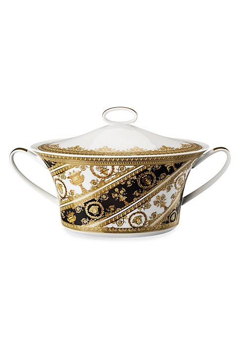 """Image of Featuring grand, Baroque inspired patterns, instantly recognizable as the distinguished style of the House of Versace. From the I Love Baroque Collection. Diameter, about 7.75"""".Porcelain. Dishwasher safe. Made in Germany."""