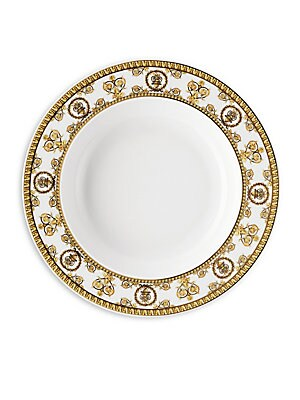 """Image of From the I Love Baroque Collection, delicate Baroque inspired soup plate enriched with gold details. Diameter, 8.5"""" Porcelain Dishwasher safe Imported. Gifts - Tabletop. Versace."""