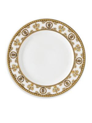 """Image of From the I Love Baroque Collection, delicate Baroque inspired salad plate enriched with gold details. Diameter, 8.5"""".Porcelain. Dishwasher safe. Imported."""