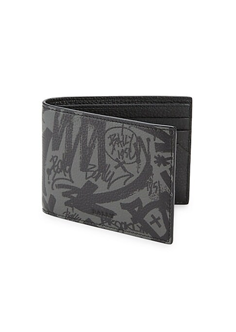 "Image of A classic leather wallet updated with a graphic graffiti print. Six interior card slots. One interior bill fold compartment.4"" L X 3"" W.Leather. Made in Italy."