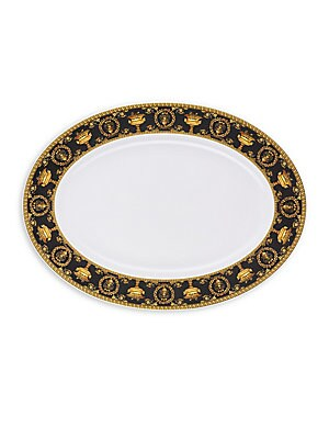 """Image of Delicate Baroque inspired platter enriched with gold and black rim details. From the I Love Baroque Collection Length, 15.75"""" Porcelain Dishwasher safe Imported. Gifts - Tabletop. Versace."""