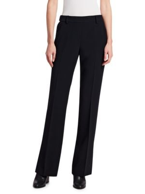 """Image of A wardrobe essential in a boot cut silhouette. Belt loops. Side snap closure. Side slip pockets. Back welt pockets. Inseam, about 29"""".Rise, about 10"""".Viscose/acetate/polyester. Dry clean. Imported. Model shown is 5'10"""" (177cm) wearing US size 4."""