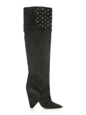 Studded Suede Over-The-Knee Boots, Black