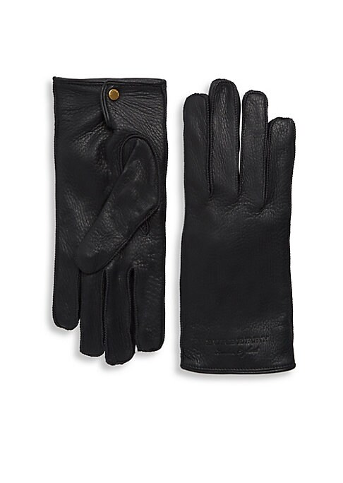 Image of Richly grained leather gloves with embossed logo detail. Snap closure. Leather. Dry clean by leather professional. Made in Italy.