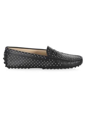 Gommini Micro Borchi Leather Loafers, Black