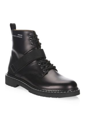 Black Always Army Boots In Leather, Black White