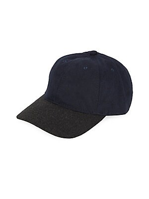 """Image of A contemporary contrast brim updates a classic six-panel baseball cap Brim, about 7"""" Polyester/wool/acrylic/other fibers Imported. Men Accessories - Cold Weather Accessories. Block Headwear. Color: Black."""