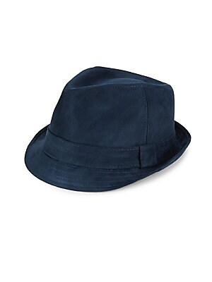 """Image of Classic fedora finished in soft suede. Banded accent Suede Imported SIZE Width, about 7"""". Men Accessories - Cold Weather Accessories. Block Headwear. Color: Navy. Size: Large/XL."""