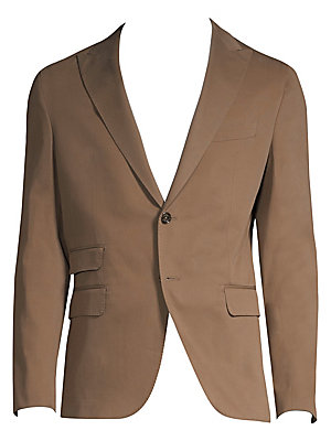 Image of From the Saks IT LIST THE JACKET The wear everywhere layer that instantly dresses you up. Handmade tailored jacket with a soft cashmere-blend finish Notched lapels Long sleeves Single breasted double button closure Three waist flap pockets Chest welt pock