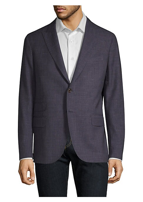 Image of From the Saks IT LIST. THE JACKET. The wear everywhere layer that instantly dresses you up. Handsome handmade wool and silk jacket in space dye texture with front button closure. Notch lapels. Long button sleeves. Two-button front closure. Slip pocket at
