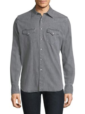 ELEVENTY Slim Fit Denim Western Shirt in Grey