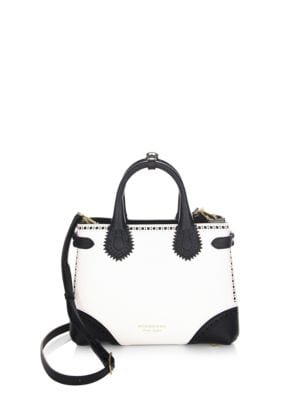 Burberry Leathers SM Banner Two-Tone Leather Tote