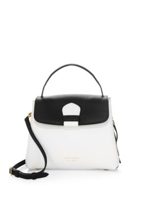 Small Camberley Derby Leather & House Check Top Handle Satchel - White, Chalk White