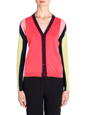 "Image of Vibrant colorblock cardigan with ribbed knit trim.V-neck. Long sleeves. Button-front. About 25"" from shoulder to hem. Cotton. Dry clean. Made in Italy. Model shown is 5'10"" (177cm) and wearing US size 4."