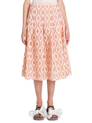 Taffeta Pleated Skirt in Pink Multi from Saks Off 5TH