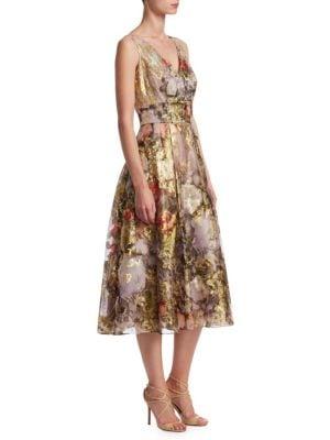 TERI JON BY RICKIE FREEMAN Floral V-Neck A-Line Midi Cocktail Dress in Multi