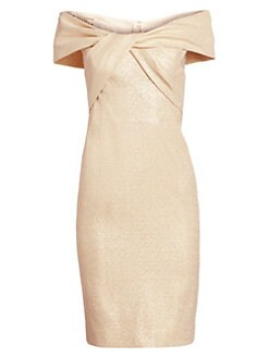 15f6261ccf4ee QUICK VIEW. Teri Jon by Rickie Freeman. Metallic Off-The-Shoulder Twist  Front Dress