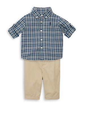 "Image of He'll be ready for playdates, birthday parties, and family gatherings with this cotton oxford shirt and chinos. A nautical-inspired ""RL"" belt anchors it in pure Polo style. Cotton. Machine wash. Imported. SHIRT. Button-down collar. Long sleeves with butto"