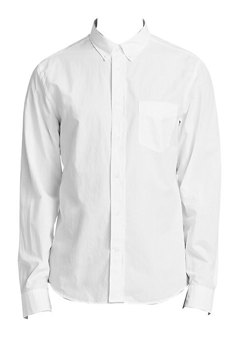 """Image of Classically tailored shirt crafted from cotton blend. Point collar. Long sleeves. Button front. Chest pocket. Back box pleat. About 27"""" from shoulder to hem. Viscose/cotton. Dry clean. Imported."""