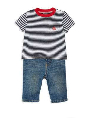 Image of He'll be ready for playdates and trips to the beach thanks to this set's cotton jeans and jersey T-shirt. A matching woven belt pulls it all together and ensures a comfortable fit. Cotton. Machine wash. Imported.T-SHIRT. Crewneck. Two-snap placket at the