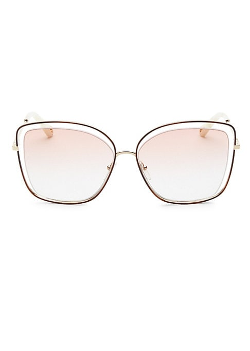 Image of Floating butterfly lenses define unique sunglasses.60mm lens width; 15mm bridge width; 140mm temple length.100% UV protection. Gradient lenses. Adjustable nose pads. Case and cleaning cloth included. Metal. Made in Italy.